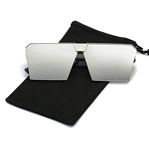 LKEYE - Unique Oversize Shield Vintage Square Sunglasses LK1705 Silver Frame/Silver Lens