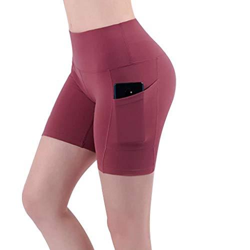 SAFTYBAY Short feminino de ioga de cintura alta, controle de barriga, não transparente, shorts de corrida atlético com bolsos (vermelho, P)