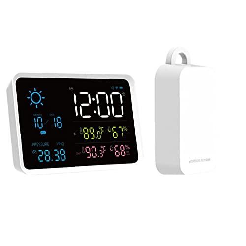 Station météo sans fil, station météo numérique LCD, avec capteur sans fil, barométrique/prévisible/phase/réveil (pas de batterie)