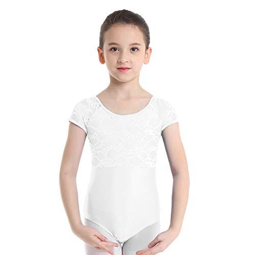 inhzoy Maillot de Danza Ballet Encaje para Niña Leotardo de Gimnasia Rítmica Manga Corta Body Jumpsuit de Patinaje Baile Yoga Disfraz de Bailarina Blanco 2-3 años