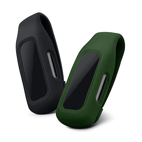 kwmobile 2X Fundas Compatible con Fitbit Inspire 2 / Ace 3 - Case para smartwatch de Silicona - Negro/Verde Oscuro