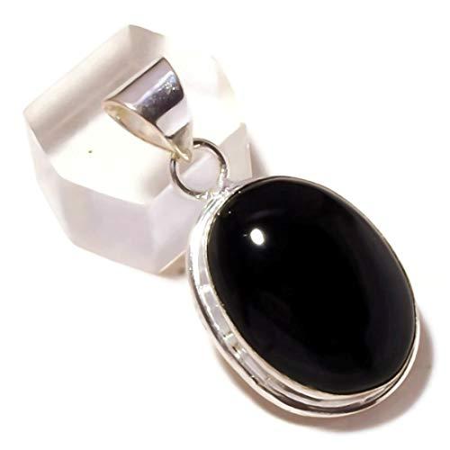 Jewels House Cabujón Negro Onyx Oval Piedra Preciosa Chapado en Plata Bisel Conjunto Colgante Negro