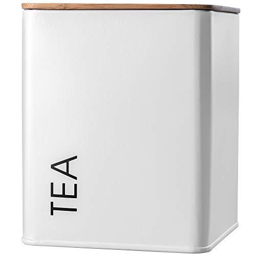 KADAX Tarro de almacenamiento con tapa, recipiente de acero con recubrimiento de polvo, recipiente de almacenamiento, recipiente hermético para especias, cacao (cuadrado, 'Tea', blanco)