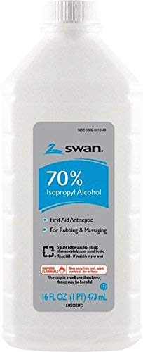 Swan 70% Isopropyl Rubbing Alcohol, 16 Oz. Bottle, Box Of 12