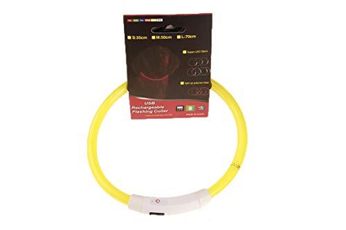 Collar De Luz LED para Mascotas De 2 Piezas, Collar De Carga USB, Collar Luminoso De Peluche, Adecuado para Perros Y Gatos Grandes, Medianos Y Pequeños (Optical Fiber 50cm,Yellow Light)