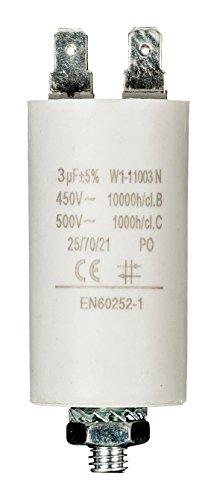 Fixapart 11003 Anlaufkondensator Betriebskondensator 3uF 3µF mit STECKER (Motorkondensator)