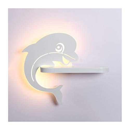 Wall Light Kinder-wandlamp, cartoon Dolphin wandlamp, LED 10 W kleurrijke ijzeren kunst helf, woonkamer decoratie slaapkamer hal nachtkastje (kleur: C)