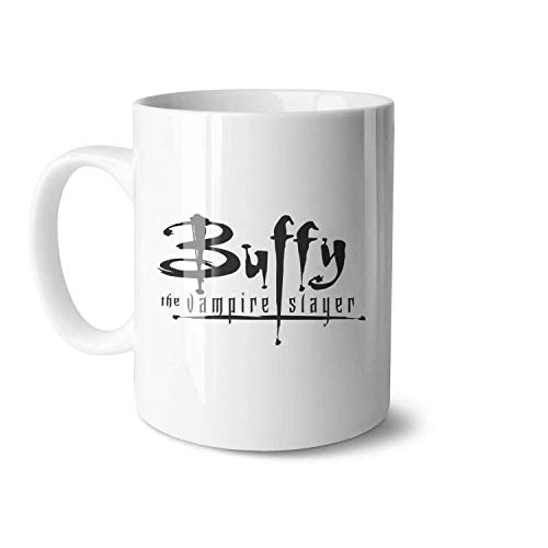 N\A Tazas de café de cerámica en Blanco y Negro de Buffy The Vampire Slayer, adecuadas para Parejas, Taza Retro, tamaño Grande