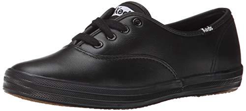 Keds Women's Champion Leather Sneaker, Black/Black, 9.5