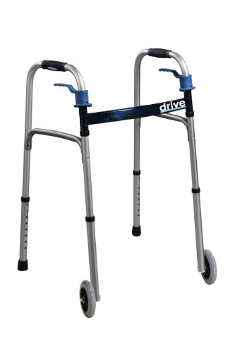 Drive Medical Trigger Release Folding Walker, Brushed Steel
