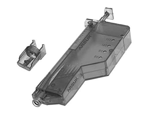 NEEZ Softair Caricatore a Palette Tondo con Numero di Giri in plastica 90, 155, 500 per Pellet BB da 6 mm (155 Round - Nero)