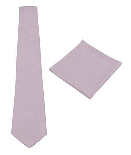 Mens Solid Linen Tie Set : Slim Necktie with Matching Pocket Square (Dusty Lilac)