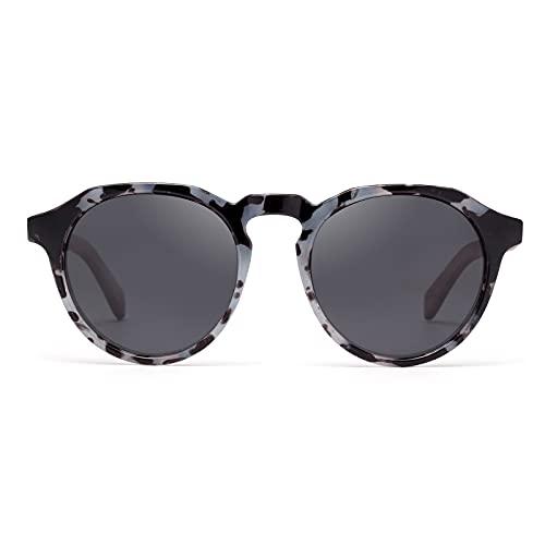 Gafas de sol redondas para hombre y mujer - Polarizadas y UV400 - Varilla de madera ligera - Funda de piel incluida