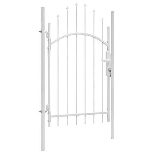 Festnight- Metall Gartentor Zauntor Einzeltor 1 x 2,25 m Weiß   Deko Gartentür Hoftür mit gewölbter Spitze   Tür für Garten Terrasse Hof, Stahl