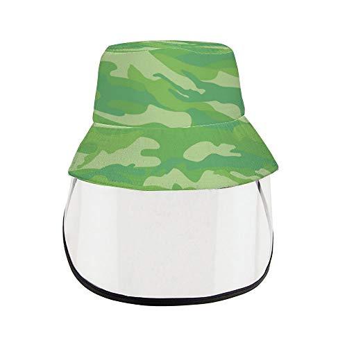 N/ A Unisex Bucket Hat Moda Mini Block Verde Sombrero de pescador Sombrero de camuflaje para el sol al aire libre Sombrero Sombrero de verano con protector facial desmontable ljj5x98sones estilo15 Talla única