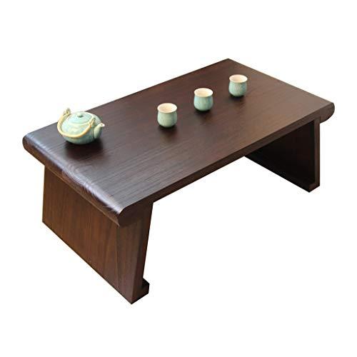 Tables Basse en Bois Massif Fenêtre Simple Tatami Salon Basse Basse Maison De Restaurant D'ordinateur Bureau Basses (Color : Brown, Size : 60 * 40 * 35cm)
