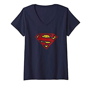 Womens Superman Crackle S Shield V-Neck T-Shirt