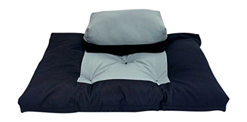 Web Linens Inc 2pc Set - Black/Gray Zabuton Zafu for Yoga and Meditation - Thick and Overfilled Seat Cushion - Exclusively by Blowout Bedding RN# 142035