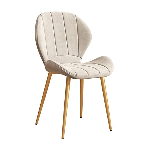 Dining Chairs 1pcs with Cushioned Pad Kitchen Chairs Sturdy Metal Legs Soft Velvet Upholstered Without Armrests Easy To Store (Color : White)