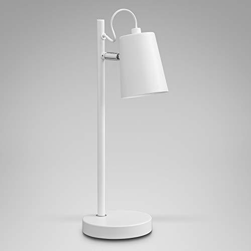 B.K.Licht Tischlampe I Tischleuchte I Schreibtischleuchte 1-flammig I verstellbar I Kabelschalter I Metall I Weiß I E14 I ohne Leuchtmittel max. 20 Watt I Höhe:37cm