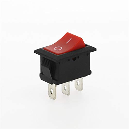 HGLNBN Interruptor basculante 10 Piezas de Coches 3 Pin Interruptor oscilante 6A / 125V AC Botón Negro 10A 250V / Rojo Amarillo Verde Azul Mejor Precio (Color : Red 2D3P)