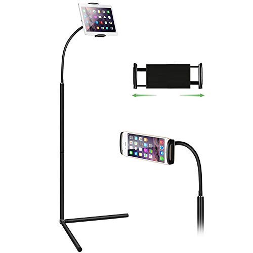 Tablet Floor Stand, 360° Height-Adjustable with Gooseneck Long Arm Cell Phone Holder Mount for 7-13inch Tablet iPad, Including ipad Pro/Mini/Air, Surface Pro, Samsung Galaxy Tab,Kindle Black