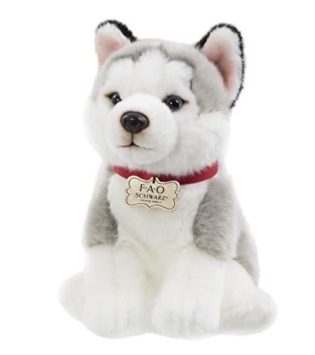 "FAO Schwarz Puppy Floppy Husky Stuffed Animal Toy Plush 10"", Ultra Soft & Snuggly Doll for Creative & Imagination Play, White/Grey, White, Grey"