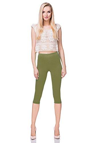 FUTURO FASHION - Leggings mit 3/4-Länge - Baumwolle - extra bequem - Übergrößen - Khaki - 44/46 (XXL)
