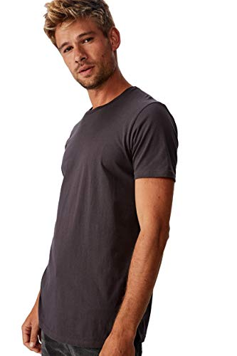 COTTON ON Mens Essential Longline Scoop T-Shirt Faded Slate XS