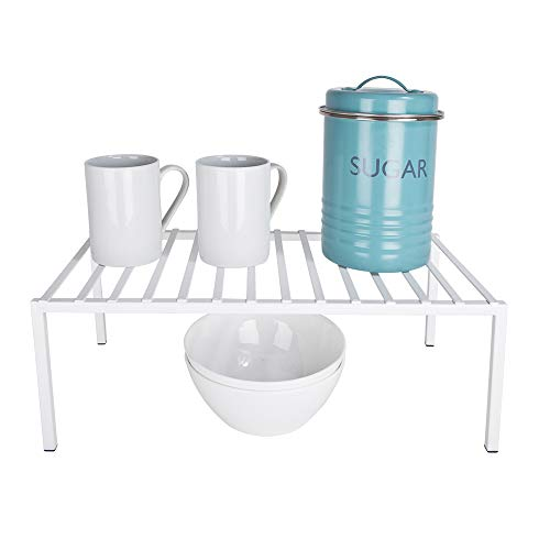 Smart Design Premium Cabinet Storage Shelf Rack - Large (8.5 x 16 Inch) - Steel Metal - Rust Resistant - Cupboard, Plate, Dish, Counter & Pantry Organization - Kitchen [White]
