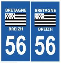 Autocollant plaque immatriculation auto département 56 Morbihan