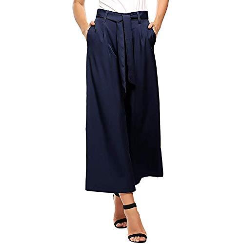 Shujin Damen Sommer Baumwolle Leinen Weite Hose Lose Paperbag Palazzo Hose Casual Festliche Hosen Hosenrock Hohe Taille mit Breiter Gummibund und Gürtel