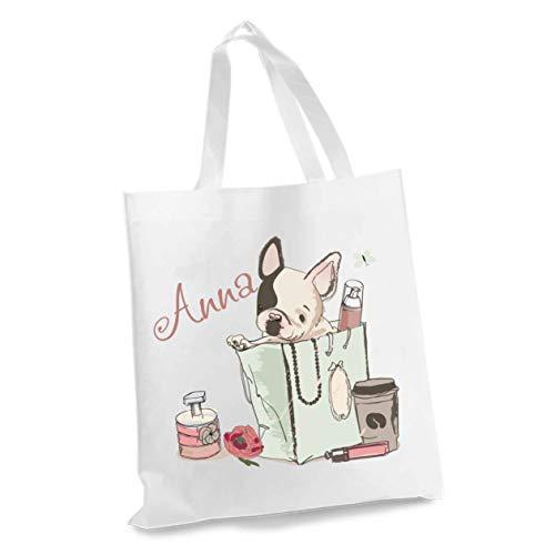 wolga-kreativ Stofftasche Einkaufstasche Hund Buch mit Name Stoffbeutel Kindertasche Sportbeutel Schuhbeutel Wäschebeutel Stoffsäckchen Jutebeutel Schultertasche Mädchen Junge