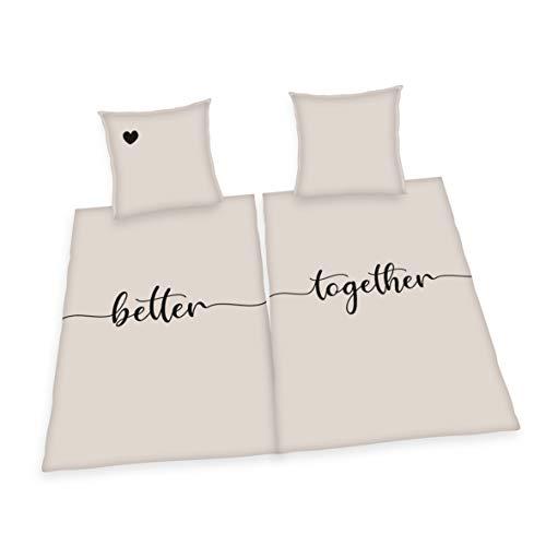 Set di Biancheria da Letto Better Together, 2x Federa + 2x Copripiumino, Taglia 80x80 cm + 135x200 cm, con cerniera, Cotone/Renforcé