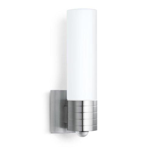 Steinel L 260 LED Buitenlamp Met, IR-Sensor, Registratiehoek: 240°, Reikwijdte: Max. 12 m, 8,6 W, E27-LEDlamp, IP44, Opaalglas, Zilver, 42.6 x 10.2 x 17.7 cm