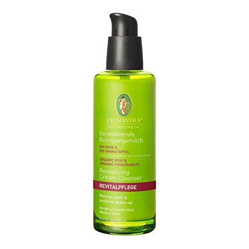 PRIMAVERA Revitalpflege Verwöhnende Reinigungsmilch Rose Granatapfel 100 ml - Naturkosmetik - sanfte Reinigung für anspruchsvolle, reife Haut - vegan