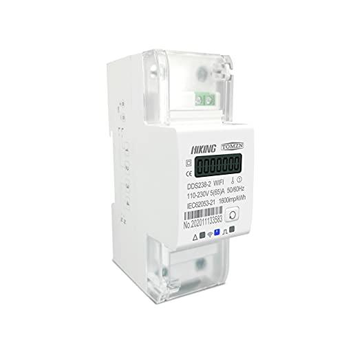 ZCX Zcxiong Monofásico 65A DIN Rail WiFi Medidor de energía Inteligente Temporizador Monitor de Consumo de energía Monitor KWH Meter Wattmeter 110V 220V 50 / 60Hz