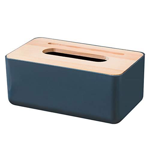 Huilongxin Boîte à mouchoirs en plastique rectangulaire, porte-couvercle de la boîte de tissu domestique avec couvercle en bois pour lavabo de bureau à domicile, bleu foncé