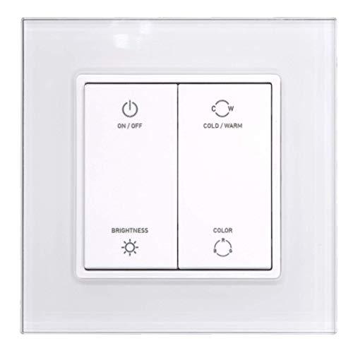 iluminize Zigbee 3.0 Wand-Dimmer mit Touchlink für weiße, duo-weiße (CCT) und RGB LEDs, 4 Tasten, 1 Zone (für weiße LEDs)