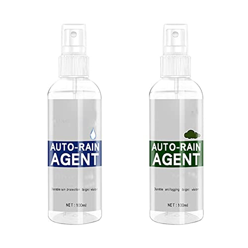 2Pcs Car Glass Waterproof Coating Agent, Multifunctional Anti Fog Spray Ceramic Coating for Cars for Windows, Windshields, Mirrors, Car Detailing, Glass, Shower Doors