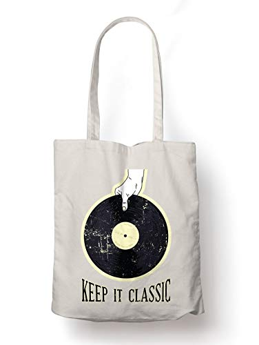 BLAK TEE Vinyl Illustration Keep It Classic Organic Cotton Reusable Shopping Bag Natural