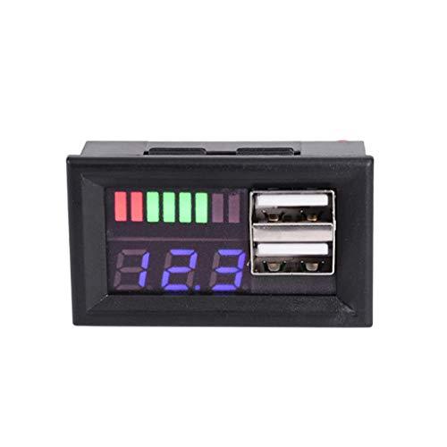 FEILINKA, voltímetro de Pantalla Digital LED Azul, Mini medidor de Voltaje, Panel probador de voltios para Motocicletas DC 12V, vehículos, Salida USB 5V2A