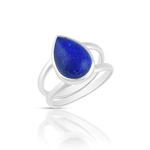 Sechi By Siblings Anillo de plata de ley 925 con piedras preciosas de lapislázuli de color azul natural para mujer