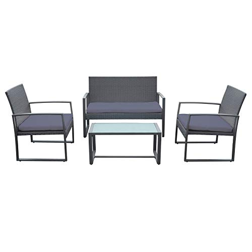 BENEFFITO CAPRERA – Grey Braided Resin Garden Furniture – Steel Frame – 4 Seater – 2 Seater Sofa, 2 Armchairs, 1 Rectangular Coffee Table