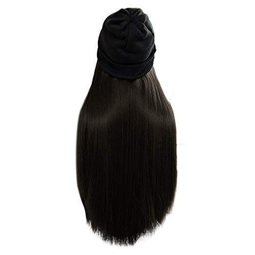 Damen Perücken, Lange gerade Perücke Kappe 30 Zoll langes Haar Baseballmütze Ball Caps Casual Hut Perücke (70cm, Schwarz)