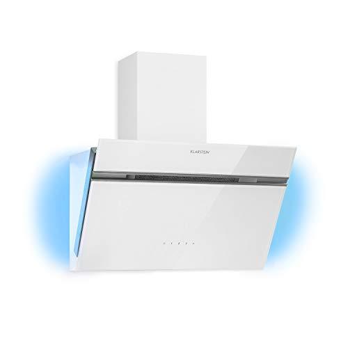 Klarstein Alina Kopffreihaube, 60cm, 600 m³/h, 3 Stufen, EEK A, RGB Ambiente Licht, Abluf- /Umluftbetrieb, Touch, LED-Beleuchtung, Glasfront, Dunstabzugshaube, Wandhaube, weiß