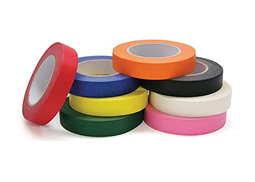 Chenille Kraft 4860 Colored Masking Tape Classroom Pack, 1 Inch x 60 Yards, Assorted, 8 Rolls/Pack