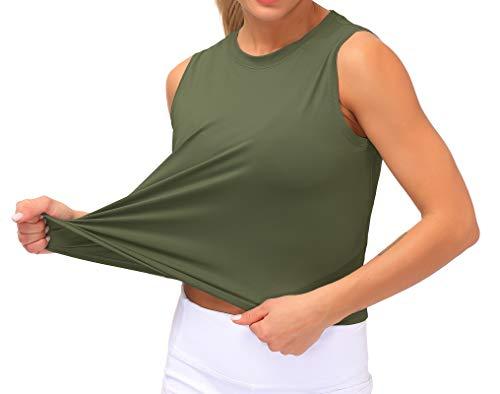 Dragon Fit Women Sleeveless Yoga Tops Workout Cool T-Shirt Running Short Tank Crop Tops (Olive Green, Medium)