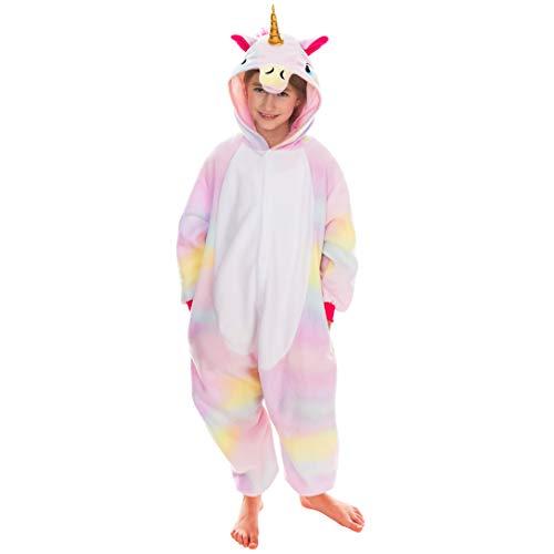 Spooktacular Creations Unisex Kinder Pyjama Plüsch Onesie Schlafanzug, Mädchen Jumpsuit Einhorn Tierkostüm Halloween Karneval Kostüm (Small, Pink)