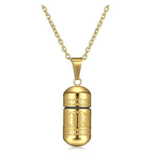 Jovivi Gold Urn Necklace Cremation Jewellery for Ashes Keepsake Jewellery Men Hair Locket Memorial Stainless Steel Engraved Om Mani Padme Hum Bullet Pendant Necklace for Women Punk Cool